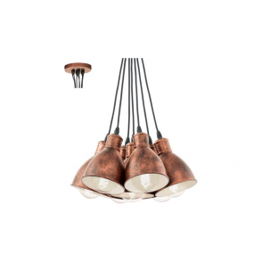49494 Priddy1 7 Light Pendant Antique Copper