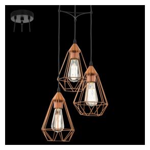 94196 Tarbes 3 Light Ceiling Pendant Copper