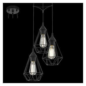 94191 Tarbes 3 Light Ceiling Pendant Black