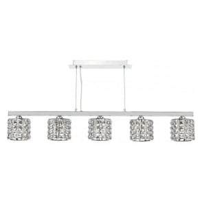 AGN0550 Agneta 5 Light Bar Pendant Polished Chrome