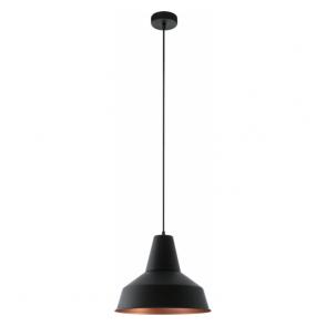 49387 Somerton 1 Light Ceiling Pendant Black/Copper
