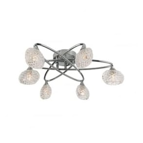 60925 Eastwood 6 Light Semi Flush Ceiling Light Polished Chrome
