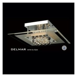 IL30023 Delmar Square 4 Light Asfour Crystal Ceiling Light Polished Chrome