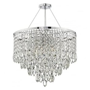 PES0550 Pescara 5 Light Crystal Pendant Polished Chrome