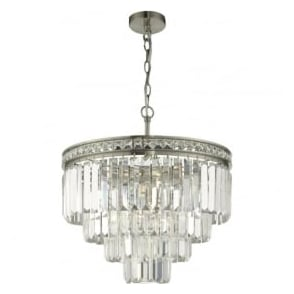 VYA0438 Vyana 4 Light Tiered Pendant Brushed Nickel and Crystal