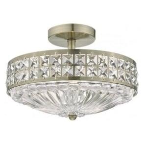 Dar OLO5375 Olona 3 Light Semi Flush Ceiling Light Antique Brass