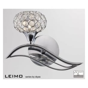 IL30951/L Leimo 1 Light Switched Wall Light Polished Chrome
