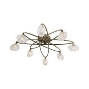 60926 Eastwood 8 Light Semi Flush Ceiling Light Antique Brass
