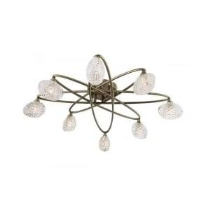 60926 Eastwood 8 Light Semi Flush Ceiling Light Antique Brass