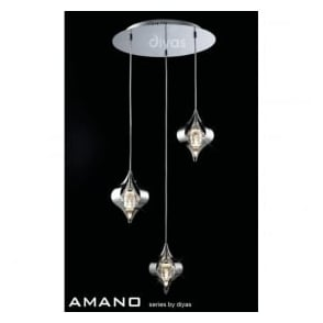 IL30584 Amano 3 Light Ceiling Pendant Polished Chrome
