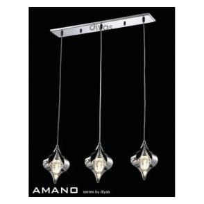 IL30583 Amano 3 Light Ceiling Pendant Polished Chrome