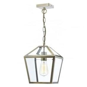 CHU0175 Churchill 1 Light Lantern Antique Brass