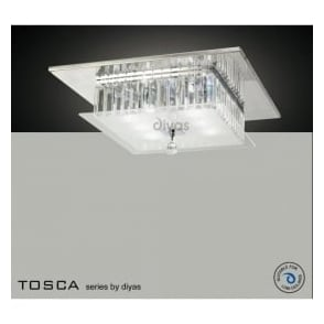 IL30246 Tosca 6 light Flush Crystal Ceiling Light Polished Chrome