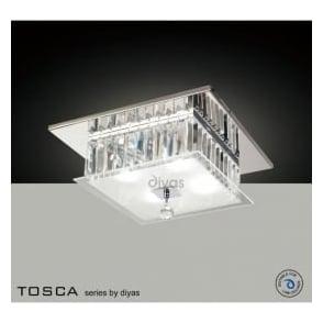 IL30245 Tosca 4 light Flush Crystal Ceiling Light Polished Chrome