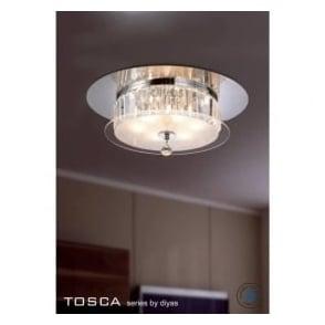 IL30242 Tosca 6 light Flush Crystal Ceiling Light Polished Chrome