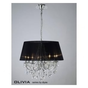 IL30056/BL Olivia 8 Light Crystal Ceiling Light Polished Chrome