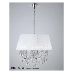 IL30056/WH Olivia 8 Light Crystal Ceiling Light Polished Chrome