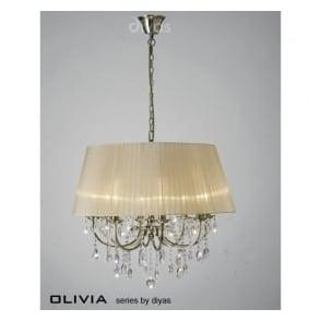 IL30057/SB Olivia 8 Light Crystal Ceiling Light Antique Brass