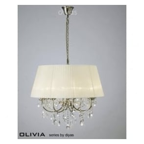IL30057/CR Olivia 8 Light Crystal Ceiling Light Antique Brass