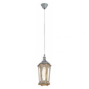 49206 Kinghorn 1 Light Ceiling Pendant Wood/Silver