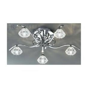 FL2235/5 Ravel 5 Light Crystal Ceiling Light Polished Chrome