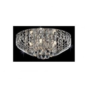 Impex CFH508052/05/PL/CH Carlo 5 Light Flush Crystal Ceiling Light Polished Chrome