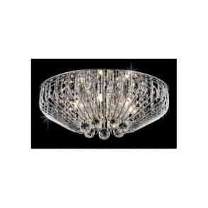 Impex CFH508052/06/PL/CH Carlo 6 Light Flush Crystal Ceiling Light Polished Chrome