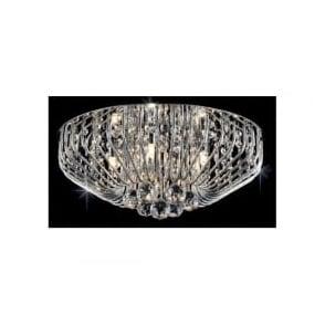Impex CFH508052/07/PL/CH Carlo 7 Light Flush Crystal Ceiling Light Polished Chrome
