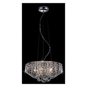 Impex CFH508052/05/CH 5 Light Crystal Ceiling Pendant Polished Chrome