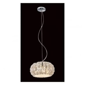 CFH905262/03/CH Rome 3 Light Crystal Ceiling Pendant Polished Chrome