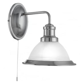 1481SS Bistro 1 Light Switched Wall Light Satin Silver