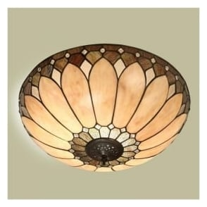 63973 Brooklyn 2 Light Flush Tiffany Ceiling Light