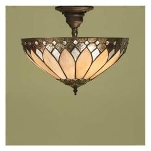 63978 Brooklyn 3 Light Semi Flush Tiffany Ceiling Light