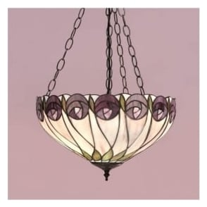 64175 Hutchinson 3 Light Medium Inverted Tiffany Ceiling Pendant