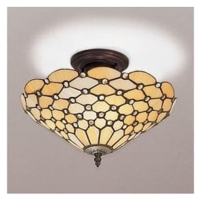 64300 Pearl 3 Light Tiffany Semi-Flush Ceiling Light