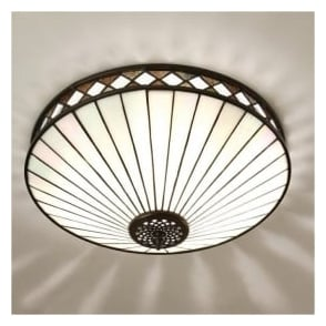 64145 Fargo 2 Light Tiffany Flush Ceiling Light