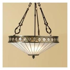 64146 Fargo 3 Light Tiffany Inverted Ceiling Pendant