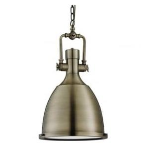 1411AB 1 Light Industrial Pendant Antique brass