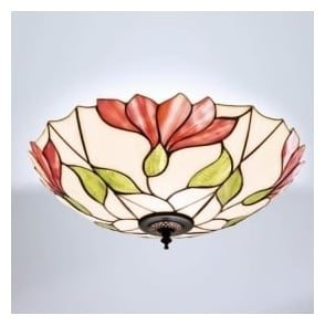 63960 Botanica 2 Light Tiffany Flush Ceiling Light