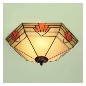 64284 Nevada 2 Light Tiffany Flush Ceiling Light