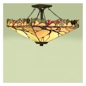 63908 Arbois 2 Light Tiffany Semi Flush Ceiling Pendant