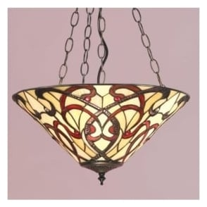64319 Ruban 3 Light Tiffany Inverted Ceiling Pendant