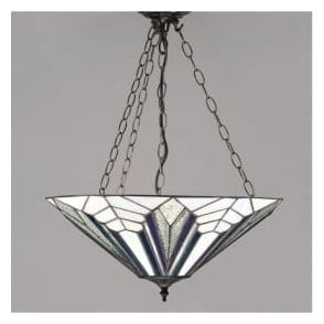 63936 Astoria 3 Light Tiffany Inverted Ceiling Pendant
