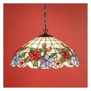 64029 Country Border 3 Light Large Tiffany Ceiling Pendant