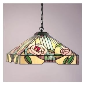 64384 Willow 3 Light Large Tiffany Ceiling Pendant