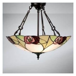 64183 Ingram 3 Light Tiffany Inverted Ceiling Pendant