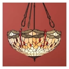 64073 Beige Dragonfly 3 Light Tiffany Inverted Ceiling Pendant