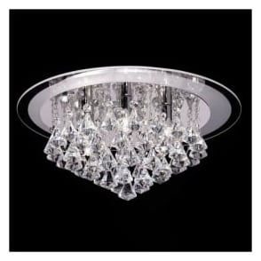 RENNER-6CH Renner 6 Light Crystal Ceiling Light Polished Chrome