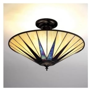 64043 Dark Star 3 Light Semi-Flush Tiffany Ceiling Light