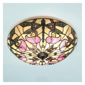 63922 Ashton 2 Light Tiffany Flush Ceiling Light